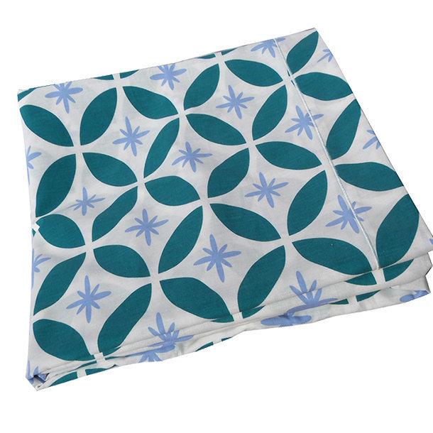 drap imprim lit 2 personnes bleu coton bio. Black Bedroom Furniture Sets. Home Design Ideas
