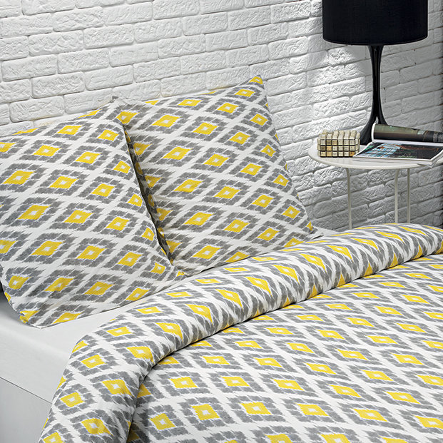 parure housse de couette imprim e coton bio jaune gris. Black Bedroom Furniture Sets. Home Design Ideas