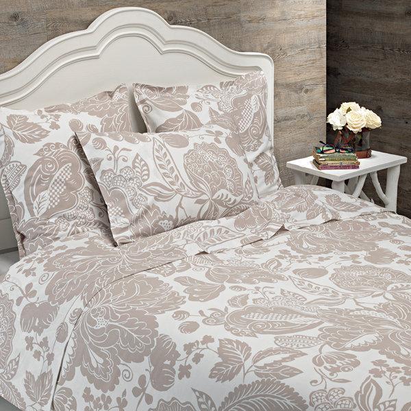 parure housse de couette imprim e coton bio taupe. Black Bedroom Furniture Sets. Home Design Ideas