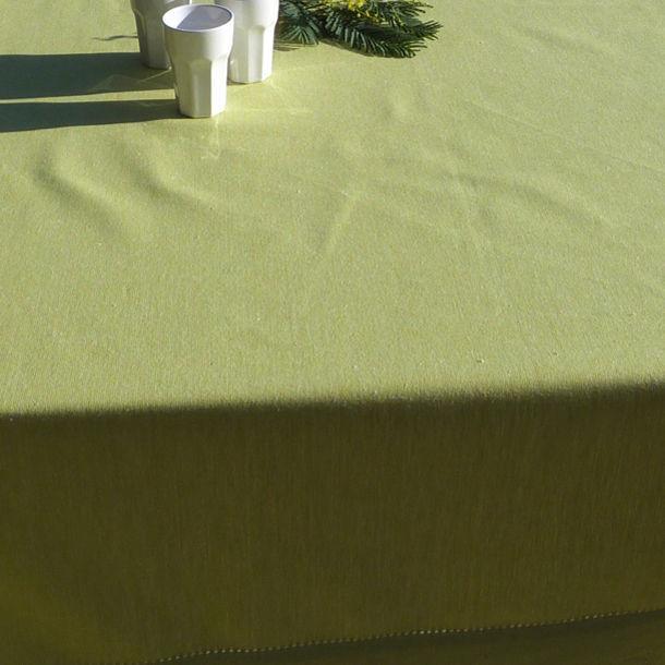 nappe coloris anis coton bio tissage chambray ourlet jour. Black Bedroom Furniture Sets. Home Design Ideas