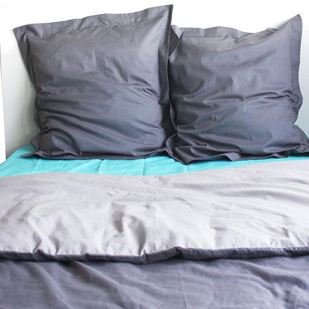 housse de couette bicolore coton gris anthracite gris clair. Black Bedroom Furniture Sets. Home Design Ideas
