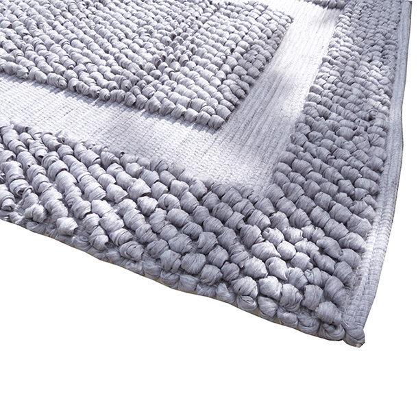 Tapis-salle de bain- fibres recyclées - coloris gris clair