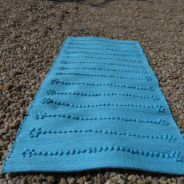 Tapis de bain 50x100 cm fibres recycl es coloris turquoise for Tapis de cuisine turquoise
