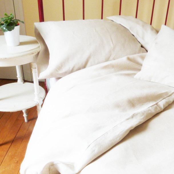 Housse de couette en lin coloris blanc for Housse couette en lin