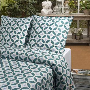parure housse de couette taies carr es coton bio bleu collection oc anie. Black Bedroom Furniture Sets. Home Design Ideas