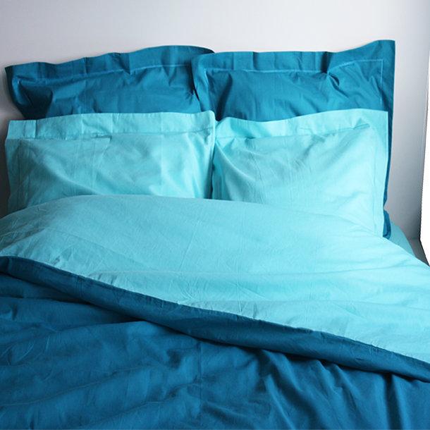 housse de couette bicolore coton lagon canard. Black Bedroom Furniture Sets. Home Design Ideas
