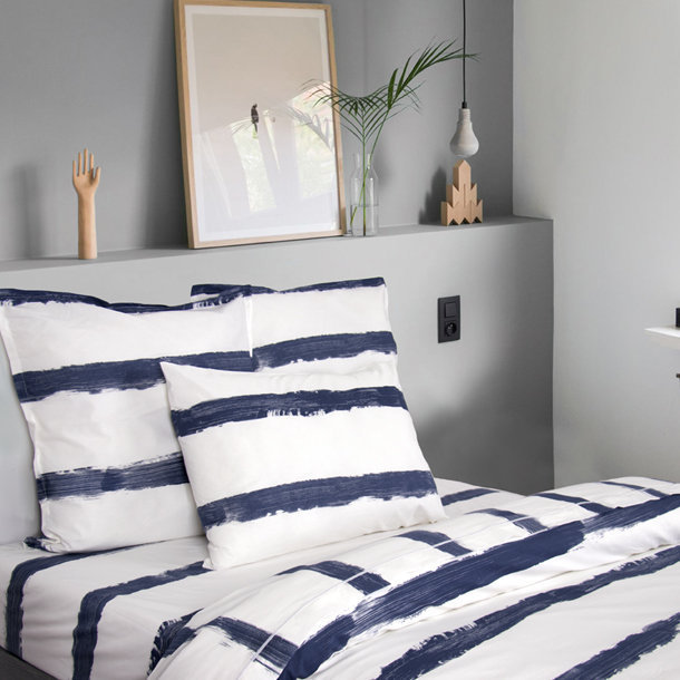 drap imprim lit 2 personnes coton bio indigo. Black Bedroom Furniture Sets. Home Design Ideas