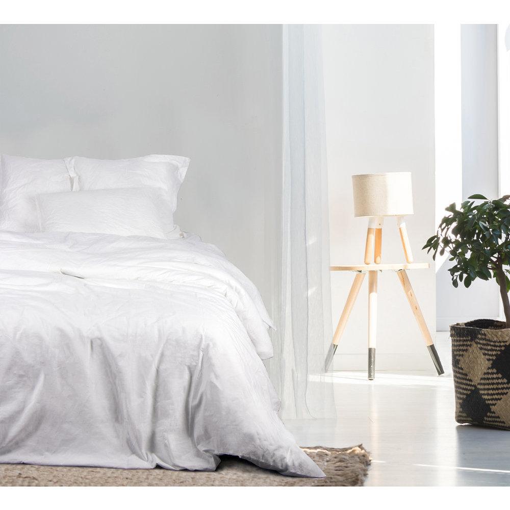 drap blanc lit 2 personnes stonewashed coton bio. Black Bedroom Furniture Sets. Home Design Ideas