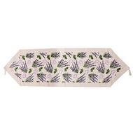 Chemin de table coton bio motif fleuri lavande - Chemin de table lavande ...